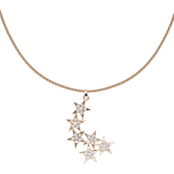 Shooting Stars Charm Necklace - Gold