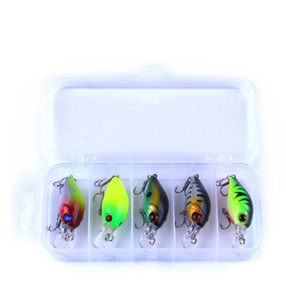 Fishing Lure Kit Minnow Crankbait Bait With Tackle Box Giveaway-5pc 4.2g - BuyGearNow