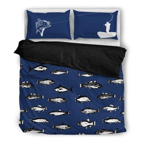Fishing Life Bedding Set-Duvet Cover and Pillow Shams - BuyGearNow