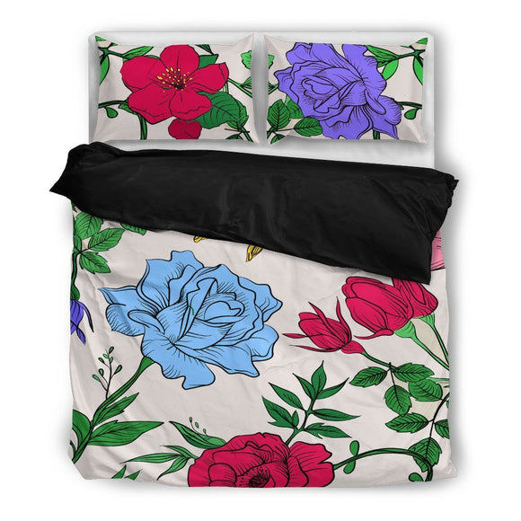 Floral Bedding Set-Duvet Cover and Pillow Shams - BuyGearNow