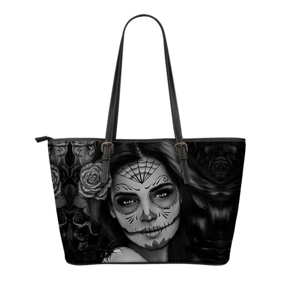 Calavera Tattoo Girl Leather Tote Black & White - BuyGearNow