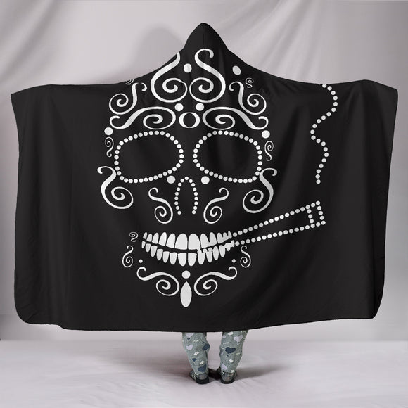Skull Smoking Hooded Blanket White - BuyGearNow