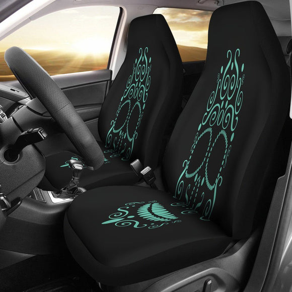 Green Neon Skull Car Seat Covers - BuyGearNow