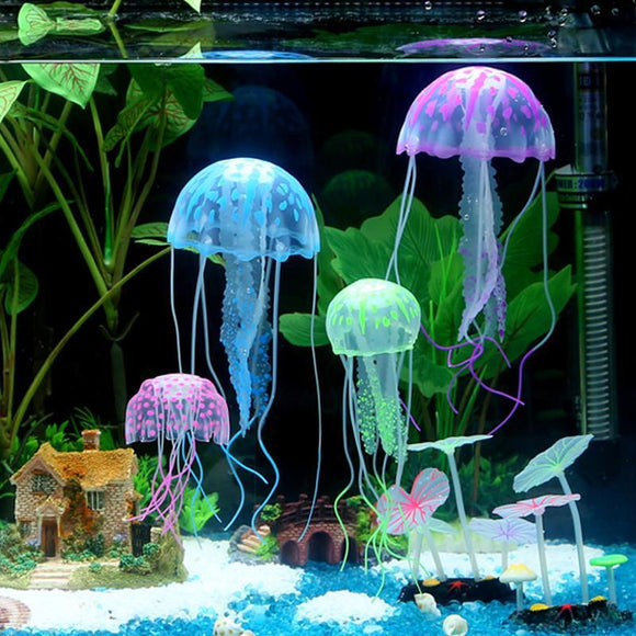 Glowing Artificial Jellyfish Fish Tank Aquarium Decoration Mini Submarine Ornament Beautiful - BuyGearNow