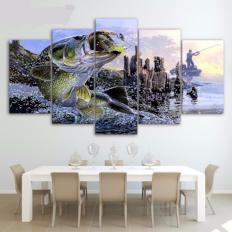 Large Mouth Bass  Wall Art 5 Piece Canvas - BuyGearNow