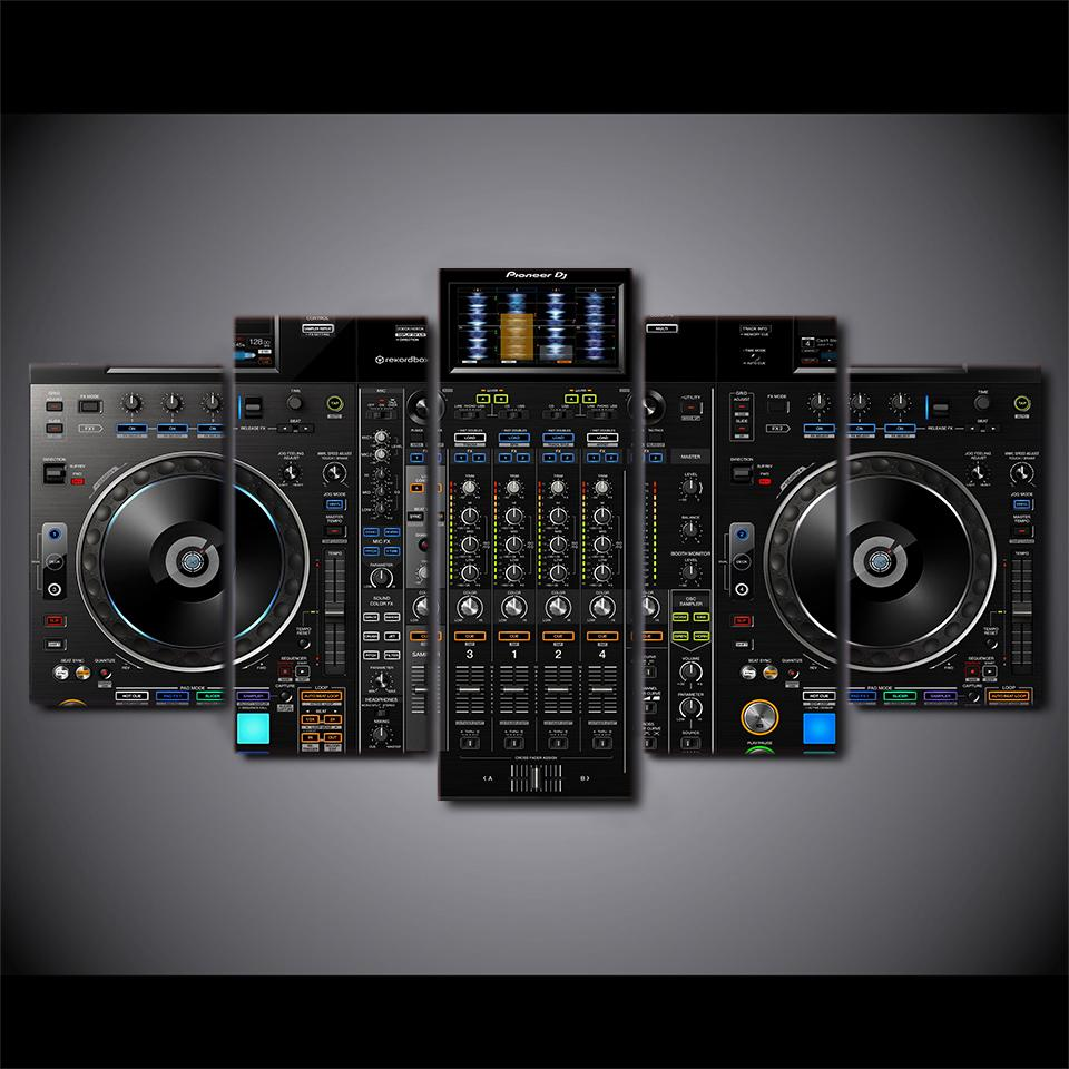 Wall Art Hd Printed 5 Piece Canvas Dj Art Turntables And