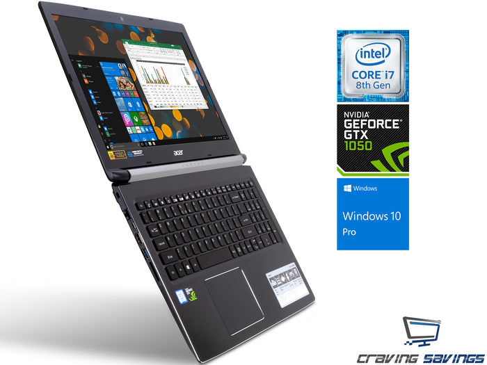 "Acer Aspire 7 A715 15.6"" IPS FHD Laptop, i7-8750H, 32GB RAM, 512GB SSD+1TB HDD, GTX 1050, Win10Pro"