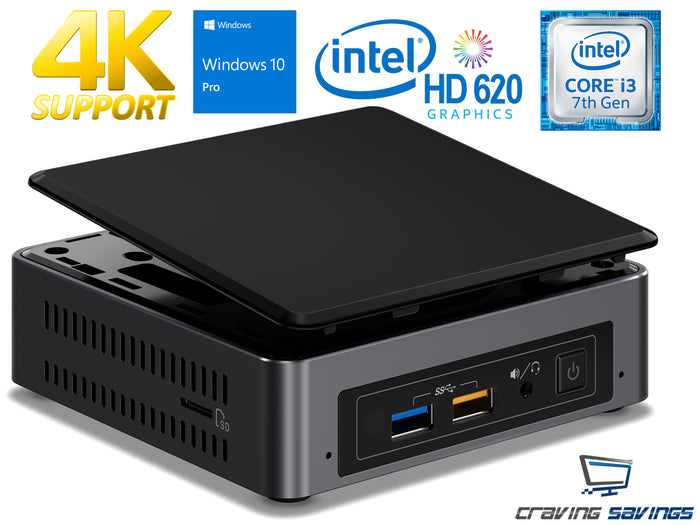 Intel NUC7i3BNK Mini PC, i3-7100U, 4GB DDR4, 256GB NVMe SSD, WiFi, Windows 10Pro