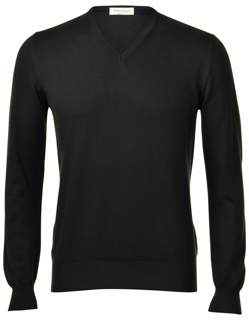 Gran Sasso Pure Cotton V-Neck Sweater - Frank Stella Clothiers