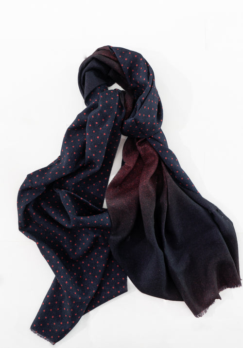 Pure Wool Reversible Dot Scarf