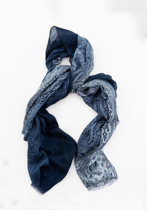 Ombré Paisley Wool Scarf