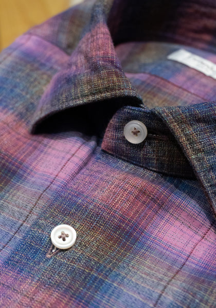 Frank Stella Purple Plaid Sport Shirt - Frank Stella Clothiers