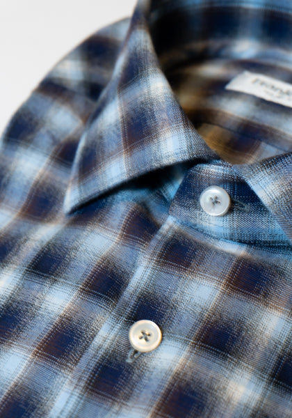 Frank Stella Navy & Brown Plaid Brushed Cotton Sport Shirt - Frank Stella Clothiers