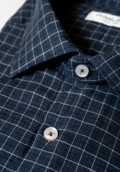 Frank Stella Navy Tattersall Brushed Cotton Sport Shirt - Frank Stella Clothiers