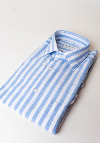 Frank Stella Blue Stripe Lightweight Cotton Sport Shirt - Frank Stella Clothiers