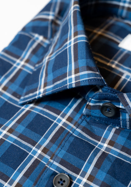 Frank Stella Navy & Brown Plaid Sport Shirt - Frank Stella Clothiers