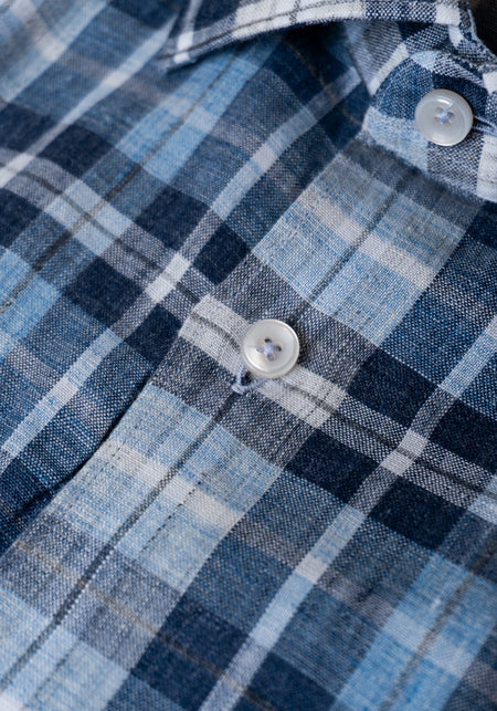 Blue Plaid Linen Sport Shirt