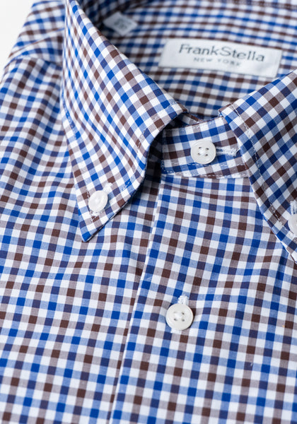 Frank Stella Blue & Brown Check Shirt - Frank Stella Clothiers