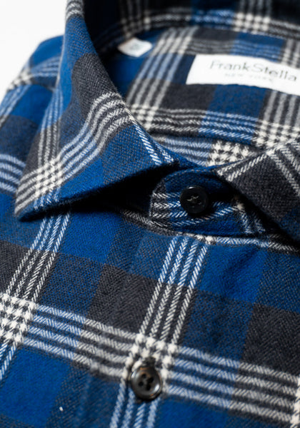 Frank Stella Blue & Grey Plaid Flannel Shirt - Frank Stella Clothiers