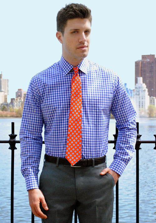 Frank Stella Blue Gingham Dress Shirt - Frank Stella Clothiers