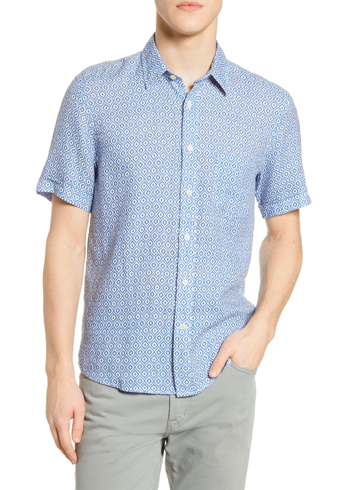Blue Diamonds Linen Short Sleeve Shirt