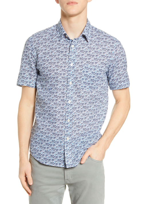 Blue Leaves Linen Short Sleeve Shirt