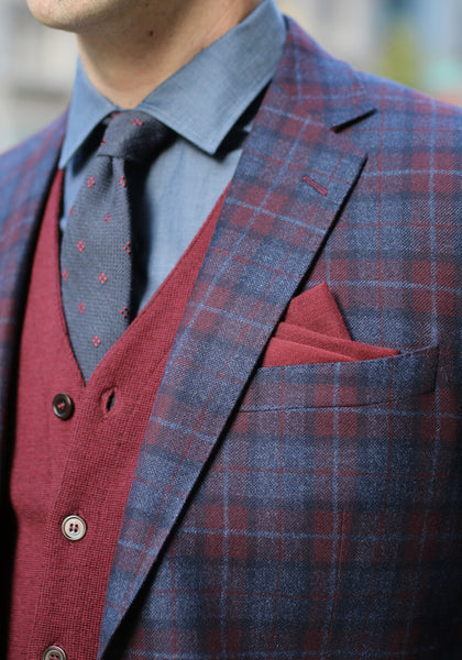 Zegna Burgundy Plaid Sport Coat