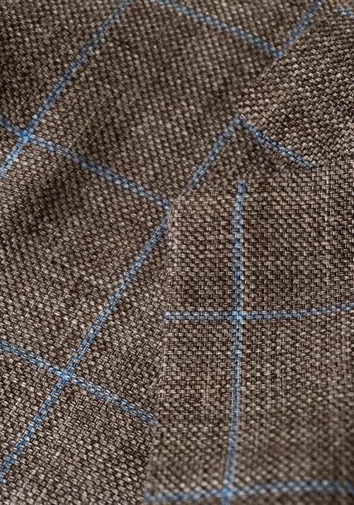 Frank Stella Tan & Blue Windowpane Sport Coat - Frank Stella Clothiers
