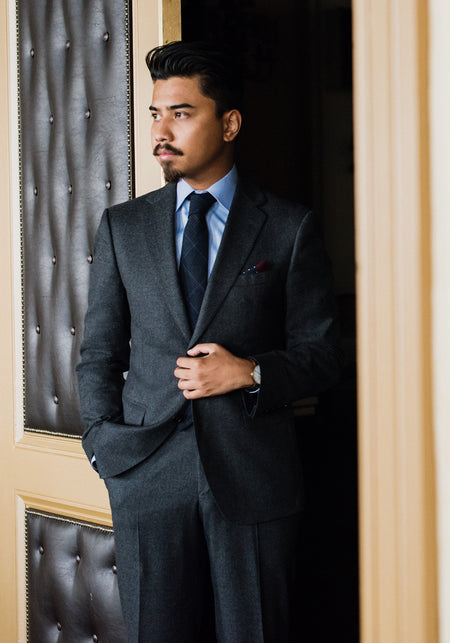 Tailored Fit Grey Plaid Suit