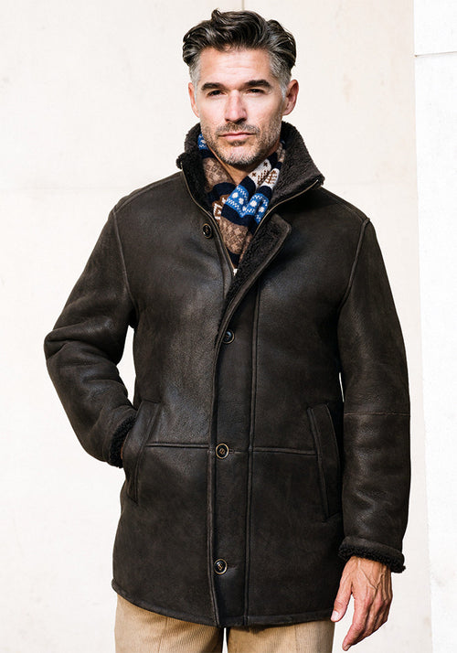 Frank Stella Classic 3/4 Length Shearling Coat - Frank Stella Clothiers