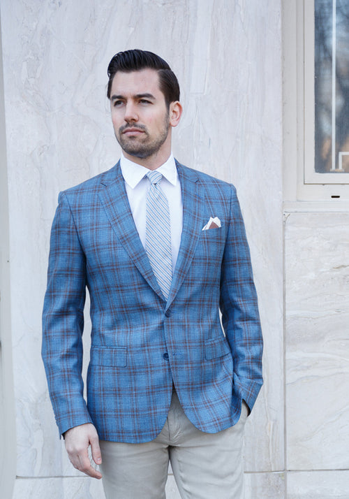 Teal Plaid Loro Piana Sport Coat