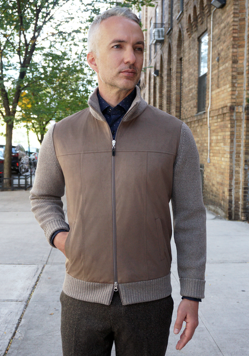 Gran Sasso Wool and Alcantara Full Zip Sweater - Frank Stella Clothiers