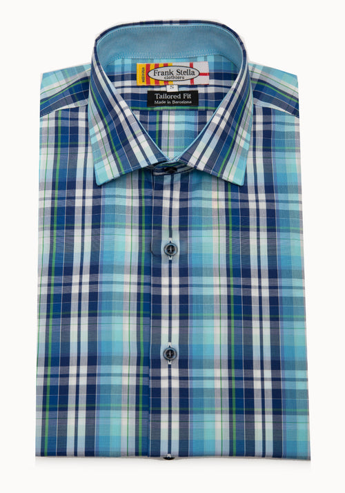 Frank Stella Green and Navy Plaid Sport Shirt - Frank Stella Clothiers