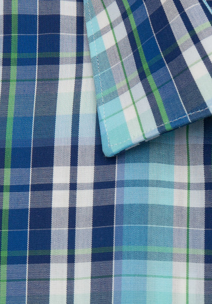 Green and Navy Plaid Sport Shirt