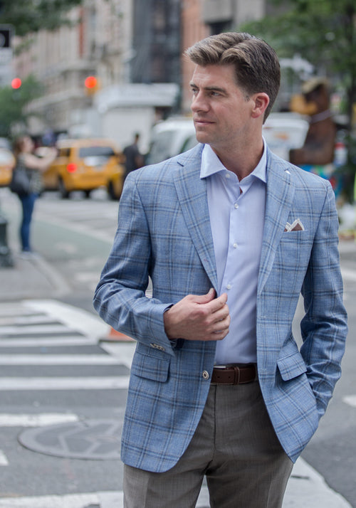 Jack Victor Light Blue Plaid Sport Coat - Frank Stella Clothiers