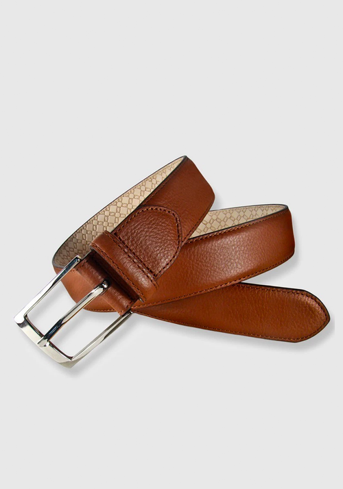 Leyva Grain Leather Belt - Frank Stella Clothiers