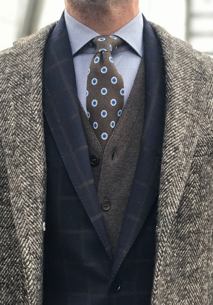Frank Stella Tailored Fit Navy Windowpane Flannel Suit - Frank Stella Clothiers