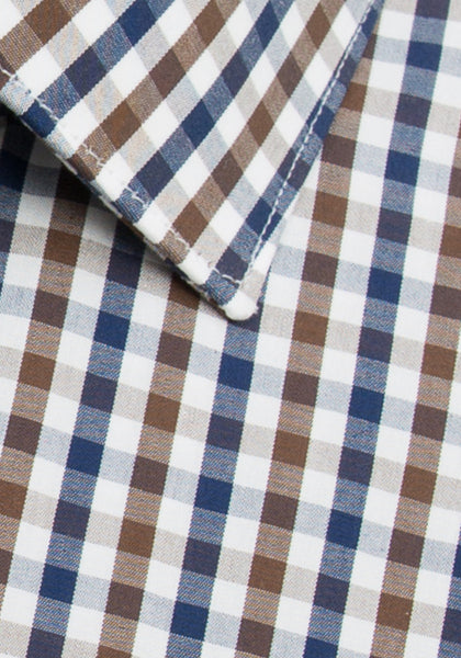 Navy and Brown Check Sport Shirt