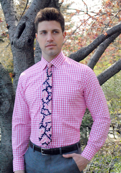 Frank Stella Pink Gingham Dress Shirt - Frank Stella Clothiers