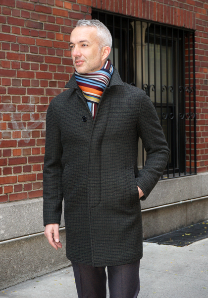 Frank Stella Pure Wool 3/4 Check Coat - Frank Stella Clothiers