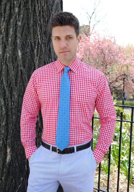Pink Gingham Dress Shirt