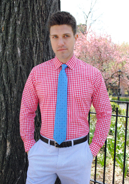 Frank Stella Red Gingham Dress Shirt - Frank Stella Clothiers