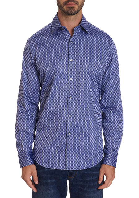 Blue & Brown Pattern Short Sleeve Shirt