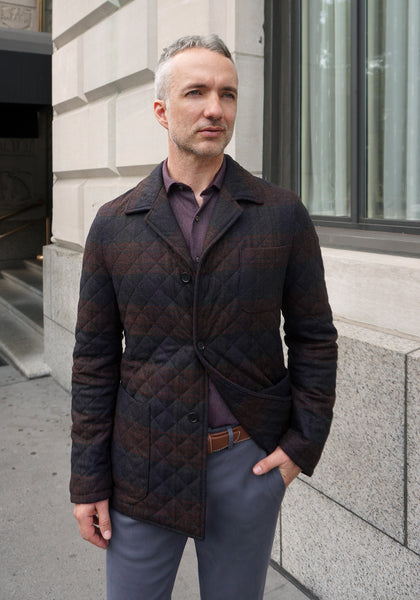 Frank Stella Plaid Italian Quilted Jacket - Frank Stella Clothiers