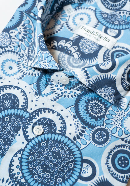 Frank Stella Blue Pattern Short Sleeve Shirt - Frank Stella Clothiers