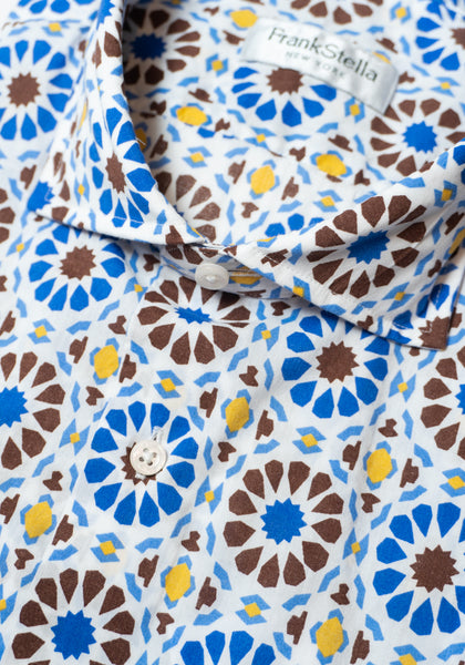 Frank Stella Blue & Brown Pattern Short Sleeve Shirt - Frank Stella Clothiers