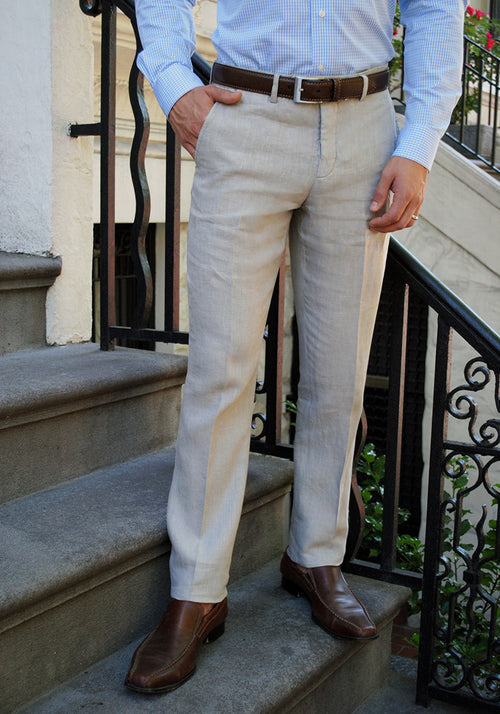Soft Washed Linen Tan Pant