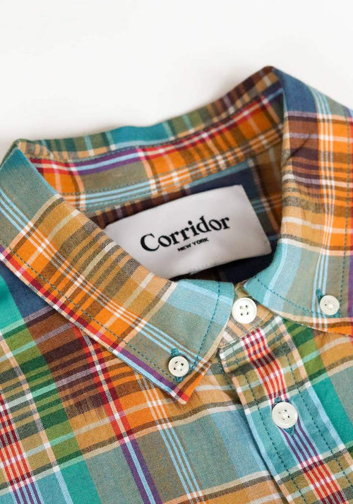 Corridor Summer Retro Madras Button Down - Frank Stella Clothiers