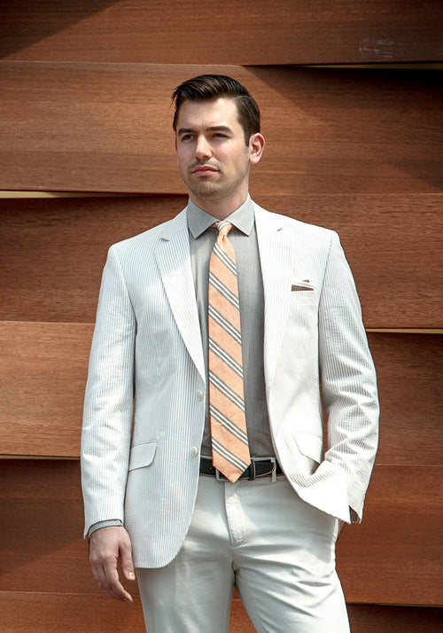 Tan & White Seersucker Sport Coat