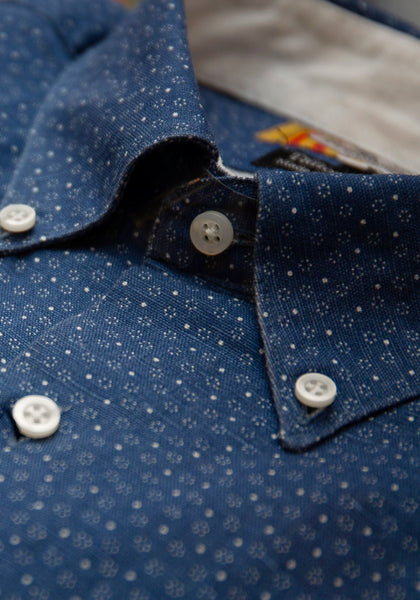 Cotton Linen Dots Sport Shirt
